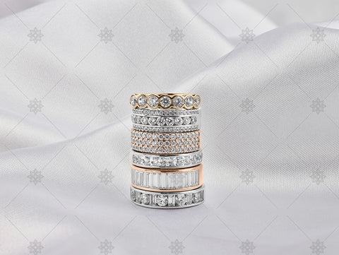 Gold Eternity ring stack on white silk - NC1024