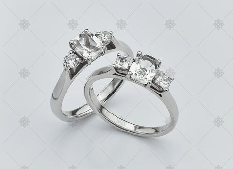 Cushion Cut 3 stone diamond trilogy rings - NC2009