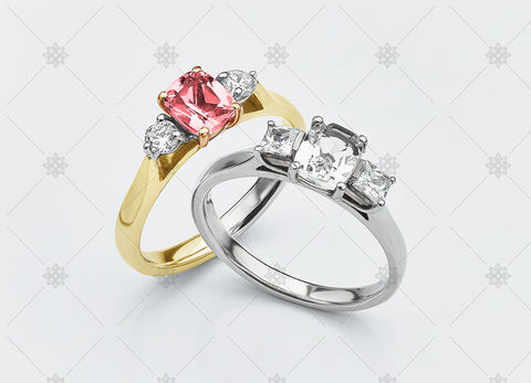Pink Ruby 3 stone diamond trilogy rings - NC2010