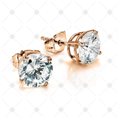 Large Diamond Stud Earrings Rose gold - NE1002
