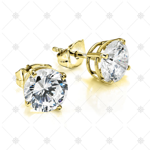 Large Diamond Stud Earrings Yellow gold - NE1002