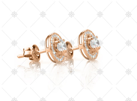 Vintage Halo Earrings Rose Gold Side View - NE1008