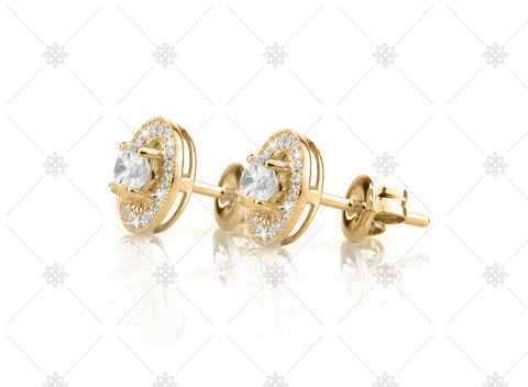 Vintage Halo Earrings Yellow Gold Side View - NE1008