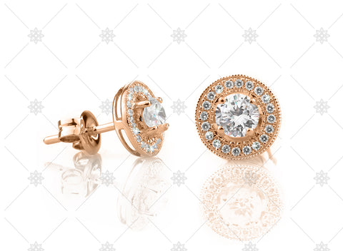 Vintage Halo Earrings Rose Gold - NE1008