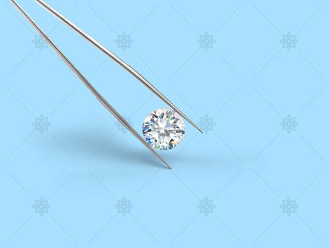 Diamond with tweezers on blue - NE1010