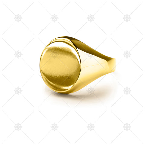 Yellow Gold Oval Signet Ring - NE1013