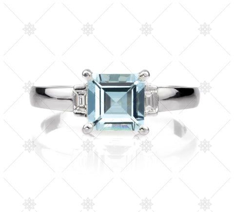 Aquamarine Carre Cut Diamond Ring - NE1016