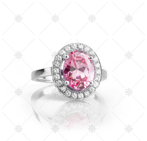 Big Pink Halo Ring - NE1015