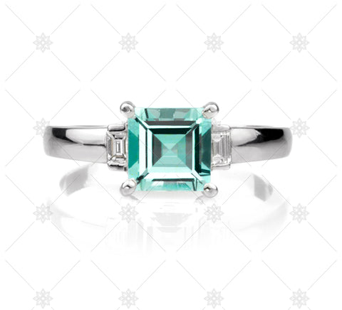 Green Emerald Carre Cut Diamond Ring - NE1016
