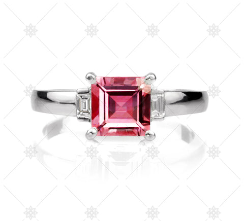 Red Ruby Carre Cut Diamond Ring - NE1016