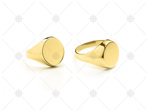 Yellow Gold Round Plain Signet Ring - NE1017