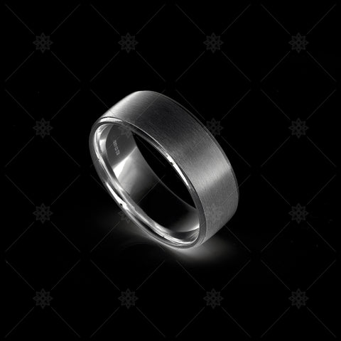 Mens Satin Wedding Ring Dark  - NE1018