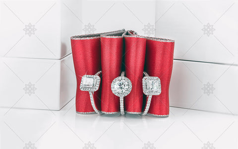 Red Ribbon Engagement Rings  - NE1019C