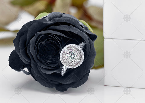 Black Rose Halo Engagement Ring  - NE1020A