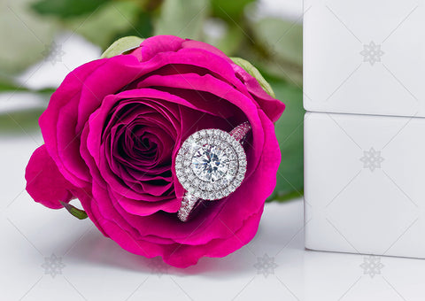 Pink Rose Halo Engagement Ring  - NE1020B
