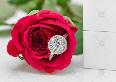 Red Rose Halo Engagement Ring  - NE1020C
