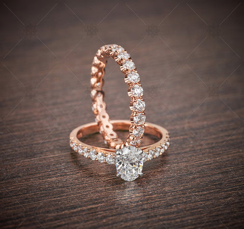 Rose Gold Oval Ring Set  - NE1023