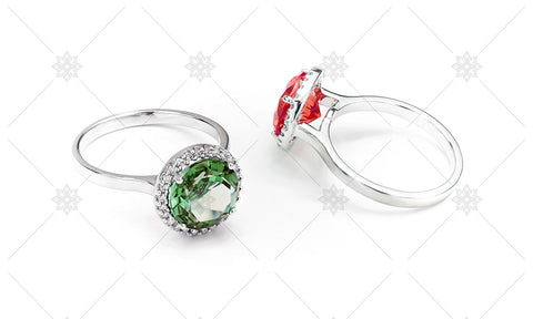 Emerald and Ruby Halo Rings  - NE1024B