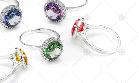 Gemstone Halo Rings  - NE1024C