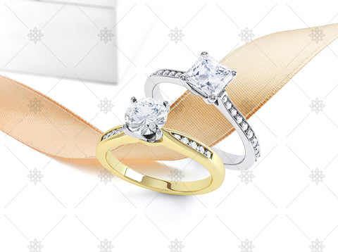 Semi Set Diamond Rings & Ribbon - NE1038b