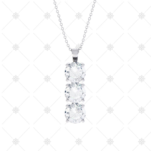 3 stone Diamond Drop Pendant - P0011
