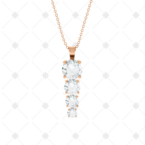 4 stone Diamond Drop Pendant Rose Gold - P0012