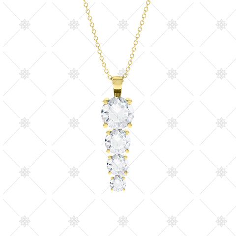 4 stone Diamond Drop Pendant Yellow Gold - P0012