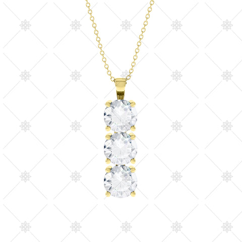 3 stone Diamond Drop Pendant Yellow Gold - P0011