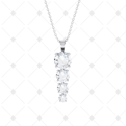 4 stone Diamond Drop Pendant - P0012