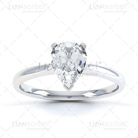 Pear Diamond Ring Photograph - Royalty Free  Images White Gold