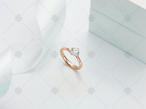 Rose Gold Diamond Ring - White Ribbon - MJ1017