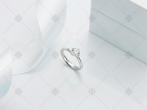 White Gold Diamond Ring - White-Ribbon - MJ1015