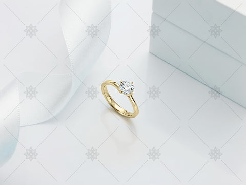 Yellow Gold Diamond Ring - White Ribbon - MJ1016