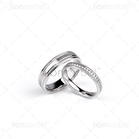 millgrain wedding ring set