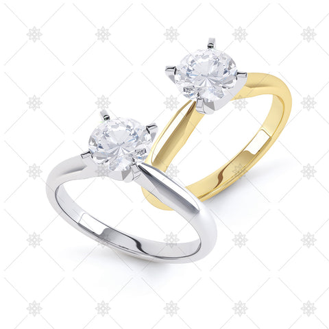 4 Claw Round Diamond Ring - 4010