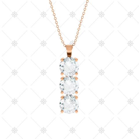 3 stone Diamond Drop Pendant Rose Gold - P0011
