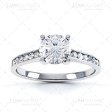 Round White Diamond Set Shoulders  Engagement Ring Image - Top View