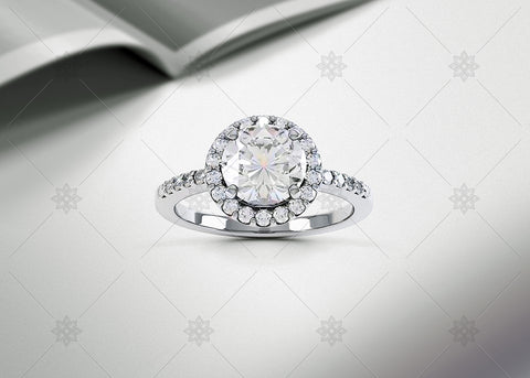 Diamond Halo Ring Studio noir - SD1001