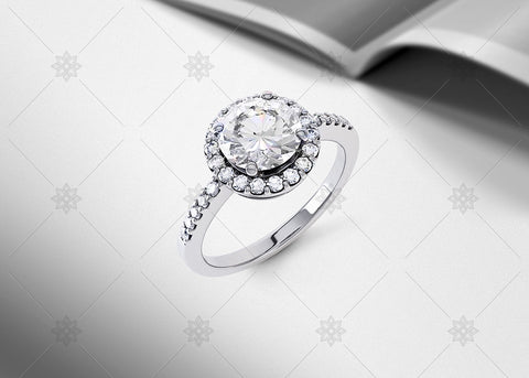 Diamond Halo Ring Studio noir - SD1002