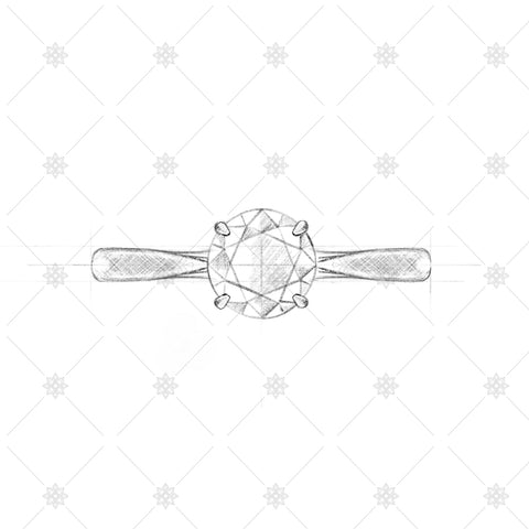 4 Claw Round Solitaire Sketch - SK1001