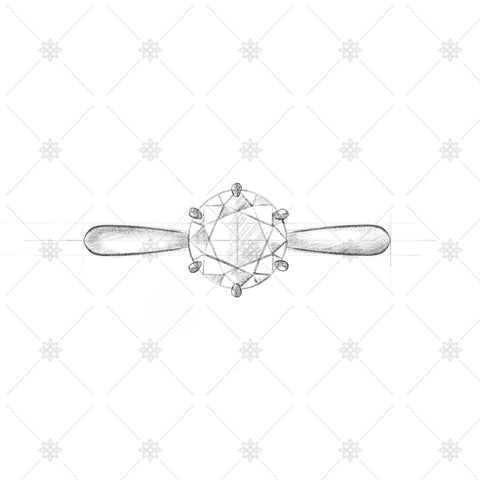 6 Claw Round Diamond Ring Sketch - SK1003