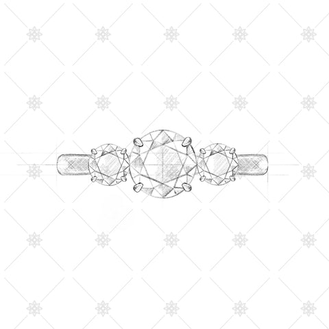 Three Stone Diamond Ring Pencil Sketch - SK1007