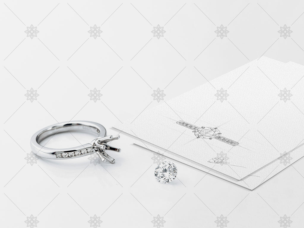 Platinum Ring With Loose Diamond And Pencil Drawing Sk1009