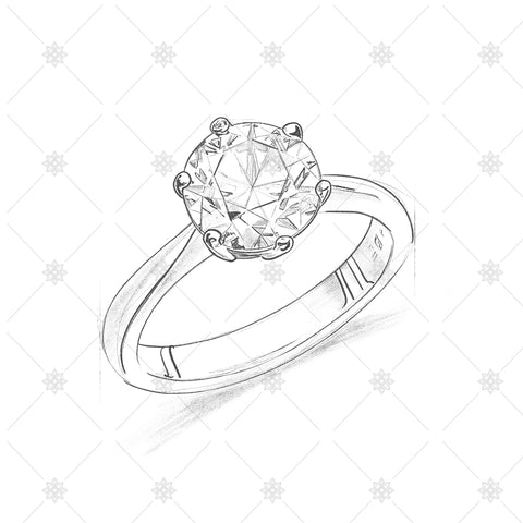 6 Claw Diamond Ring Pencil drawing - SK1010