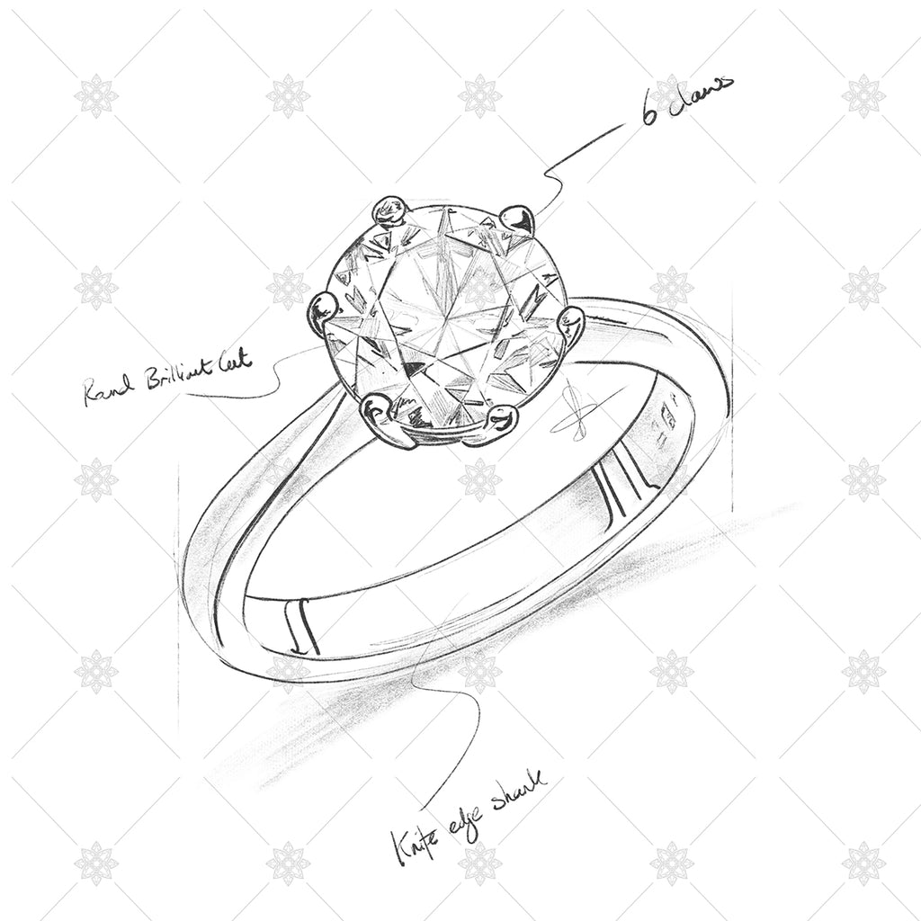Diamond ring pencil drawing with annotations sk1011