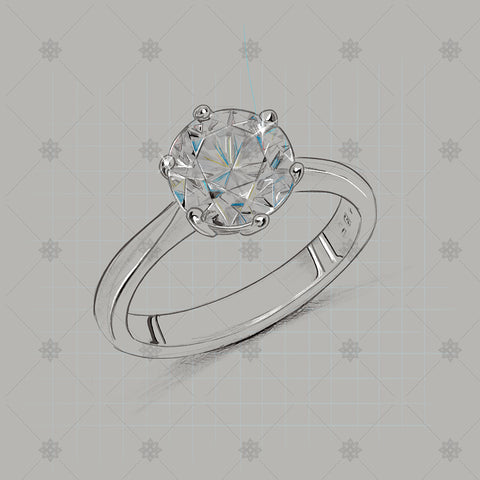 Colour Diamond Ring Pencil drawing - SK1013