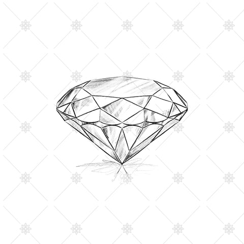 Brilliant Cut Diamond Pencil drawing - SK1015