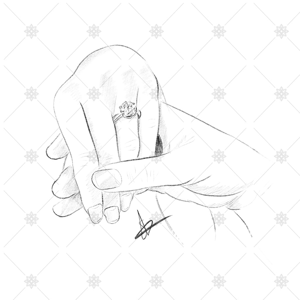 Getting engaged pencil sketch holding hands sk1030