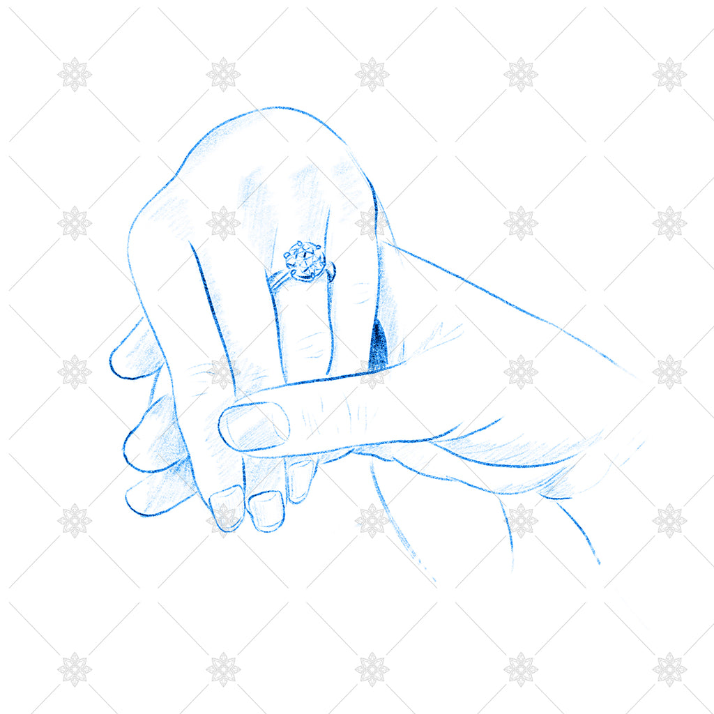 Blue pencil sketch couple holding hands sk1032
