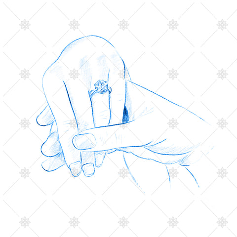 Blue pencil sketch couple holding hands - SK1032